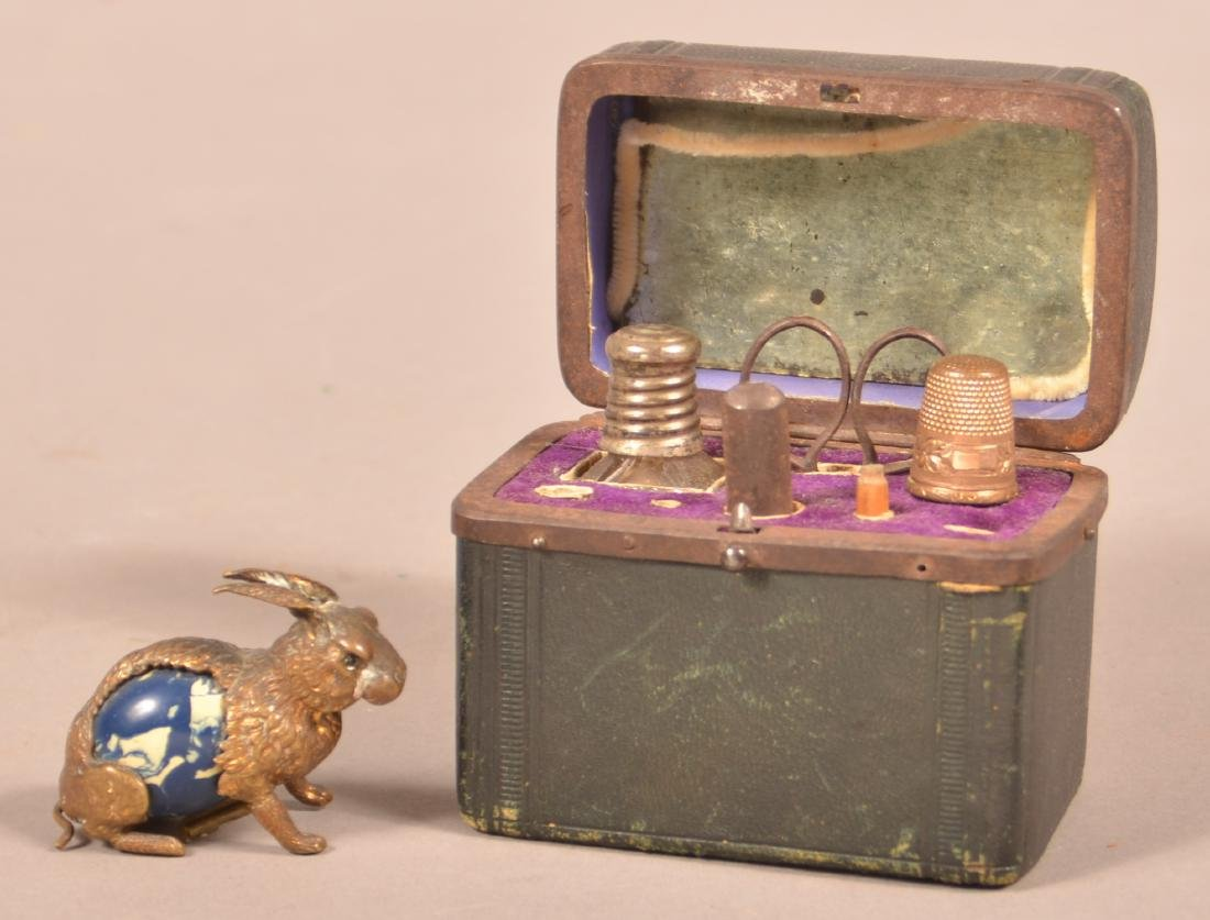 Antique Travel/Sewing Kit & Rabbit Tape Measure.