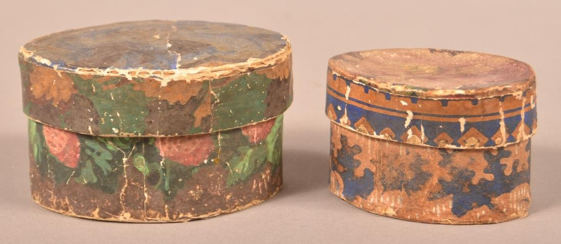 2 19th Century Wallpaper covered Trinket Boxes.
