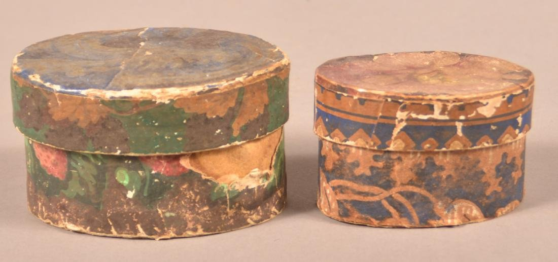 2 19th Century Wallpaper covered Trinket Boxes. - 2