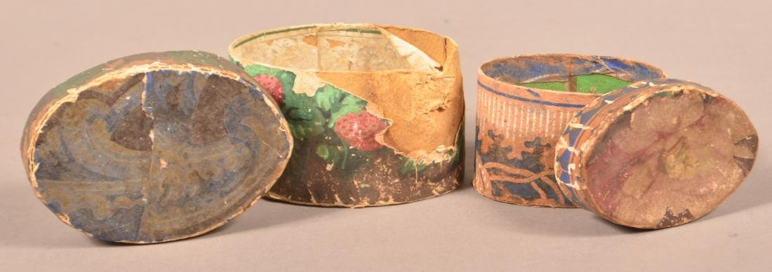 2 19th Century Wallpaper covered Trinket Boxes. - 3