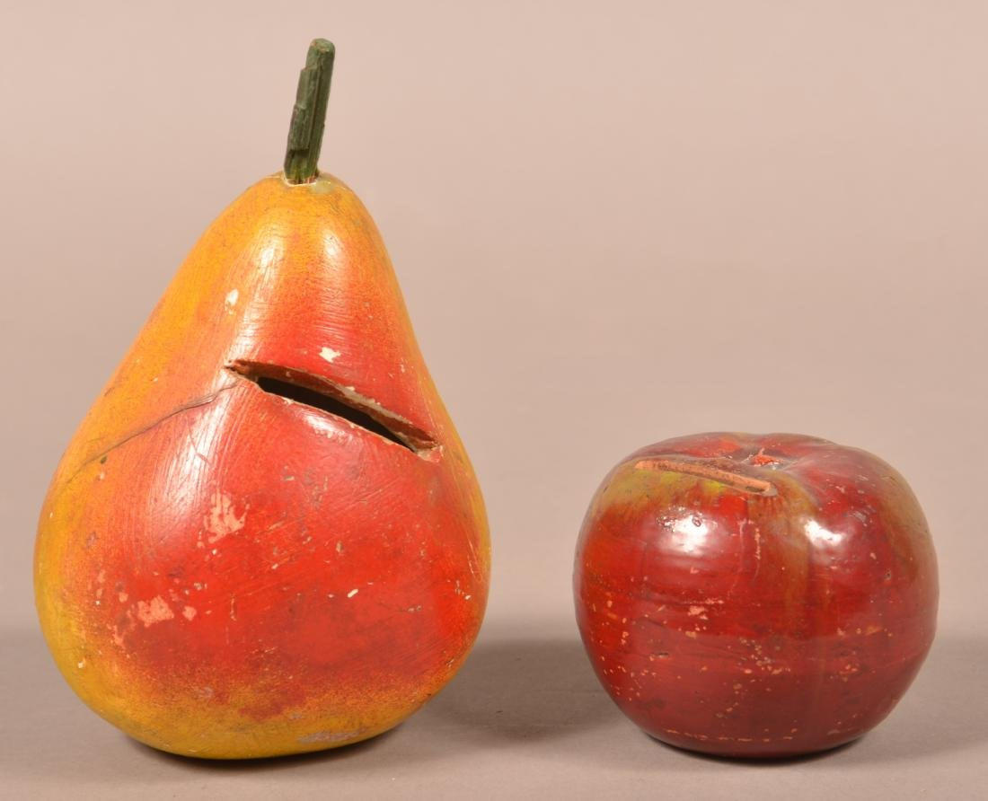 Two Antique Cold Painted Fruit Form Still Banks.