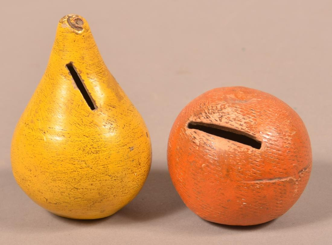 2 Cold Painted Redware Fruit Form Still Banks.