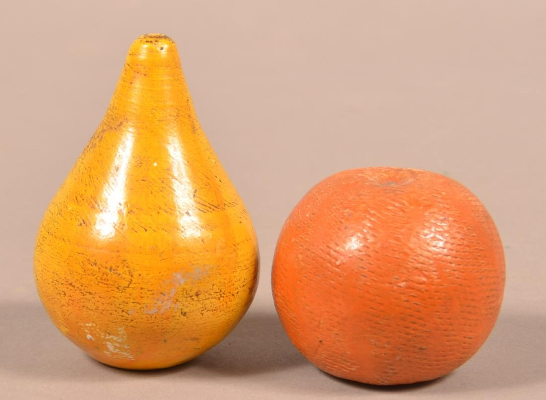 2 Cold Painted Redware Fruit Form Still Banks. - 2