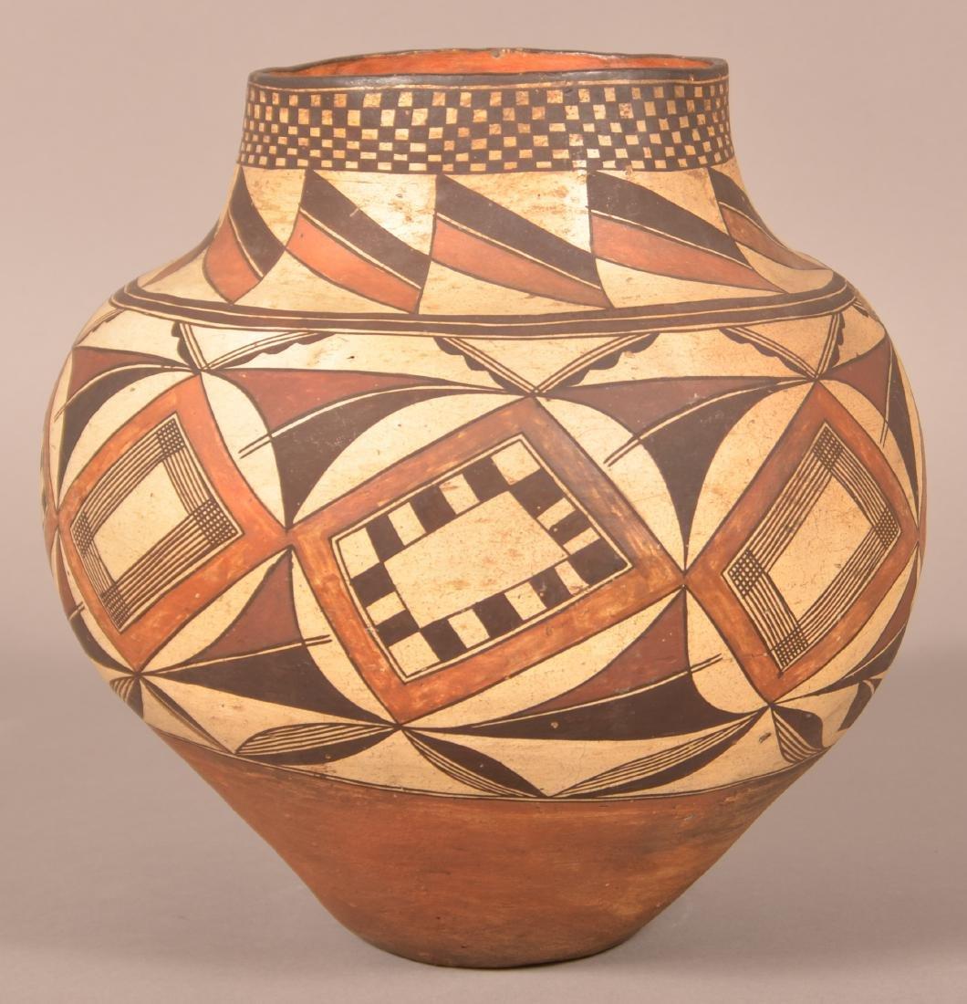 Very Fine Acoma Polychrome Pottery Olla.