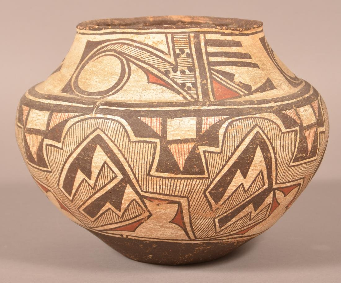 Fine 19th Century Zuni Polychrome Pottery Olla.