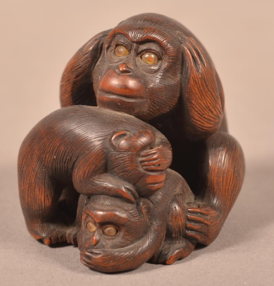 Japanese Carved Boxwood Monkey Group Netsuke.