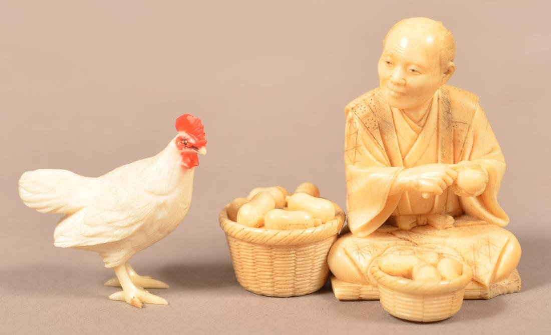 Antique Carved Oriental Figure and Chicken.