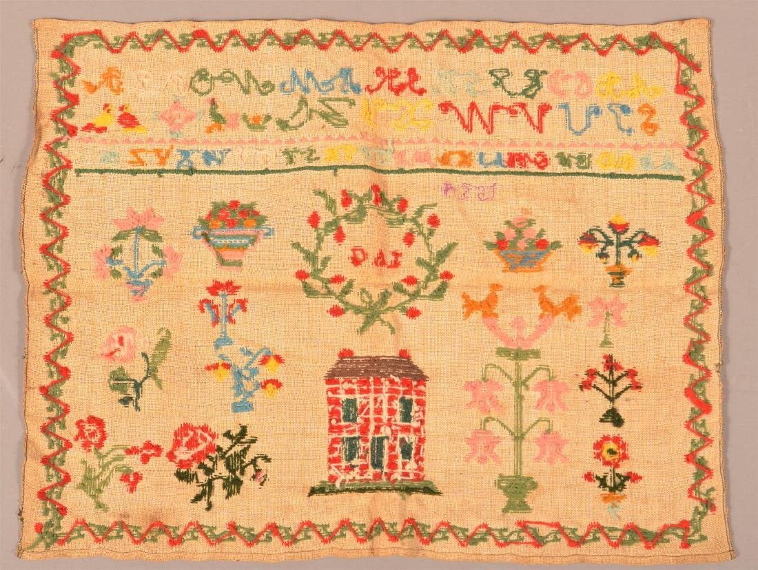 "Needlework Sampler Signed ""S.A.G. 1854"". - 3"