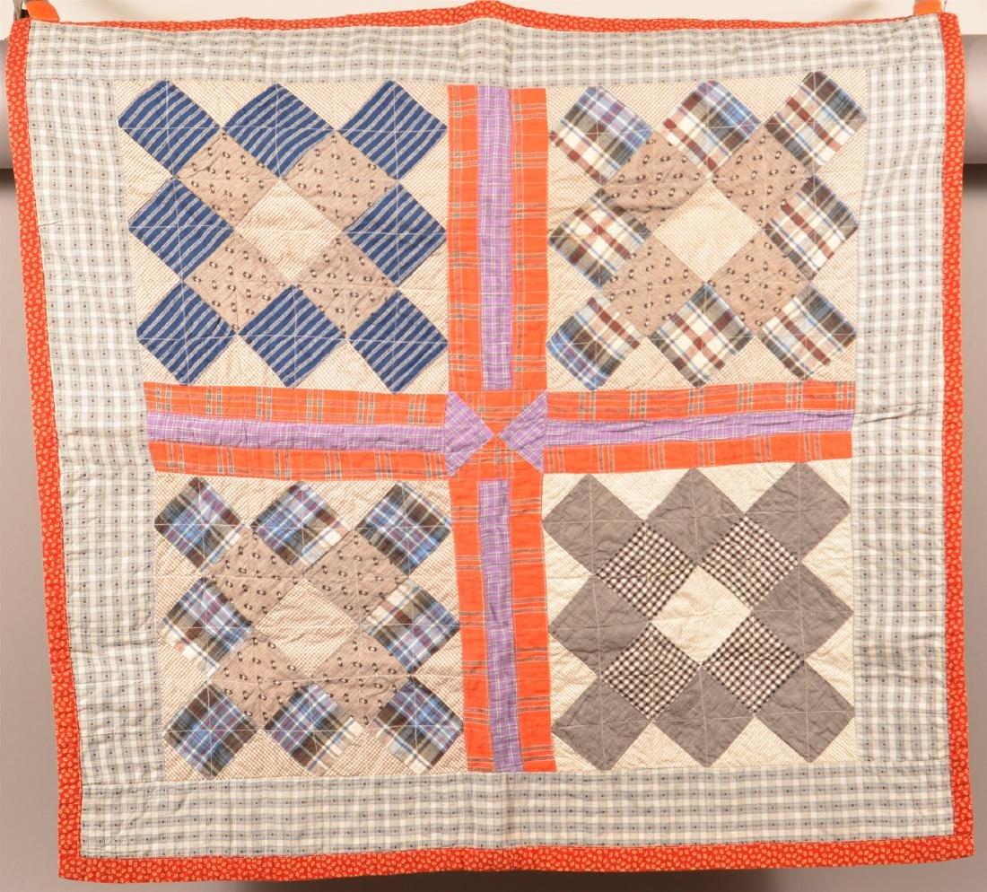 Antique Block Pattern Patchwork Crib Quilt.