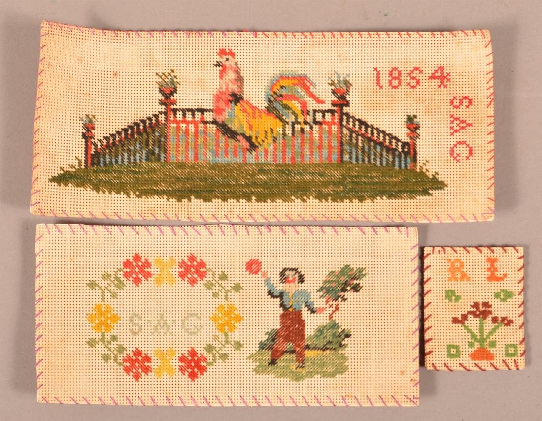3 Antique Needlework on Paper Book Marks.