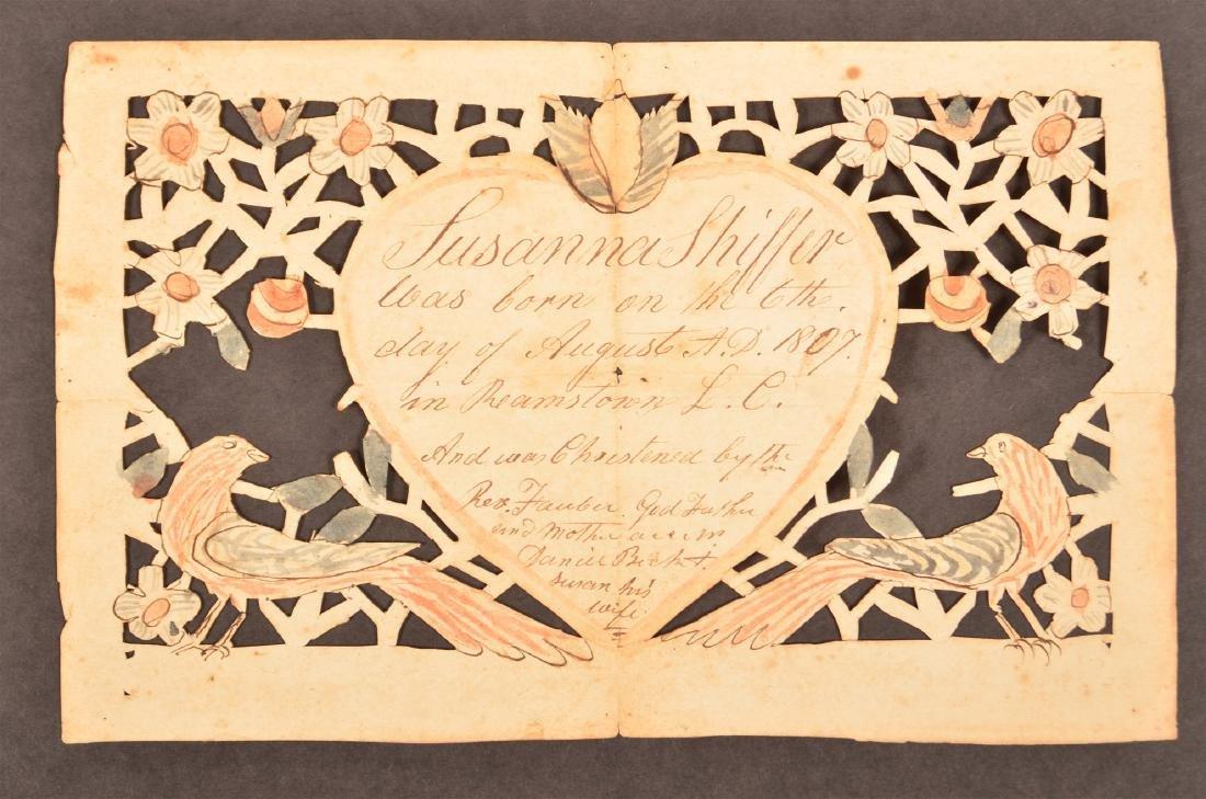 1807 Lancaster Co., Pa Scherenscnitte.