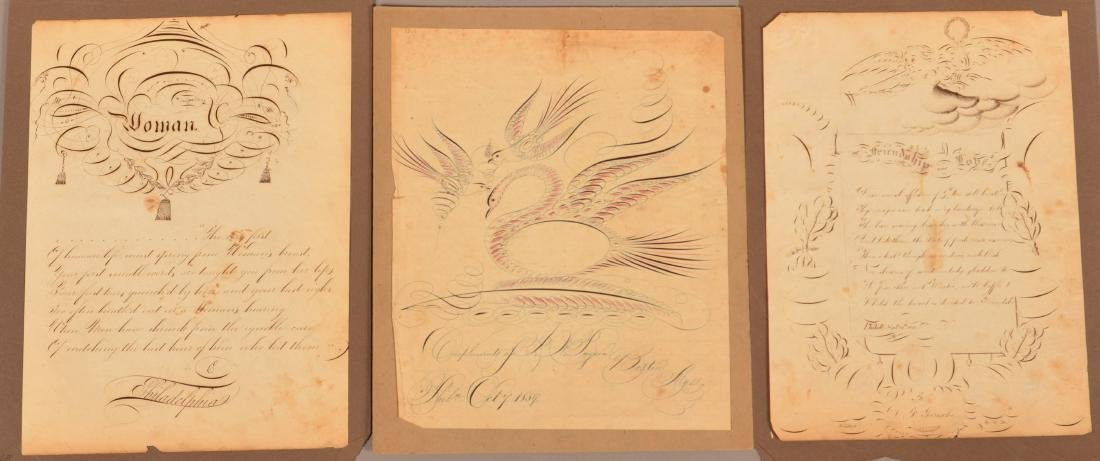 Three 19th Century Calligraphy Drawings.