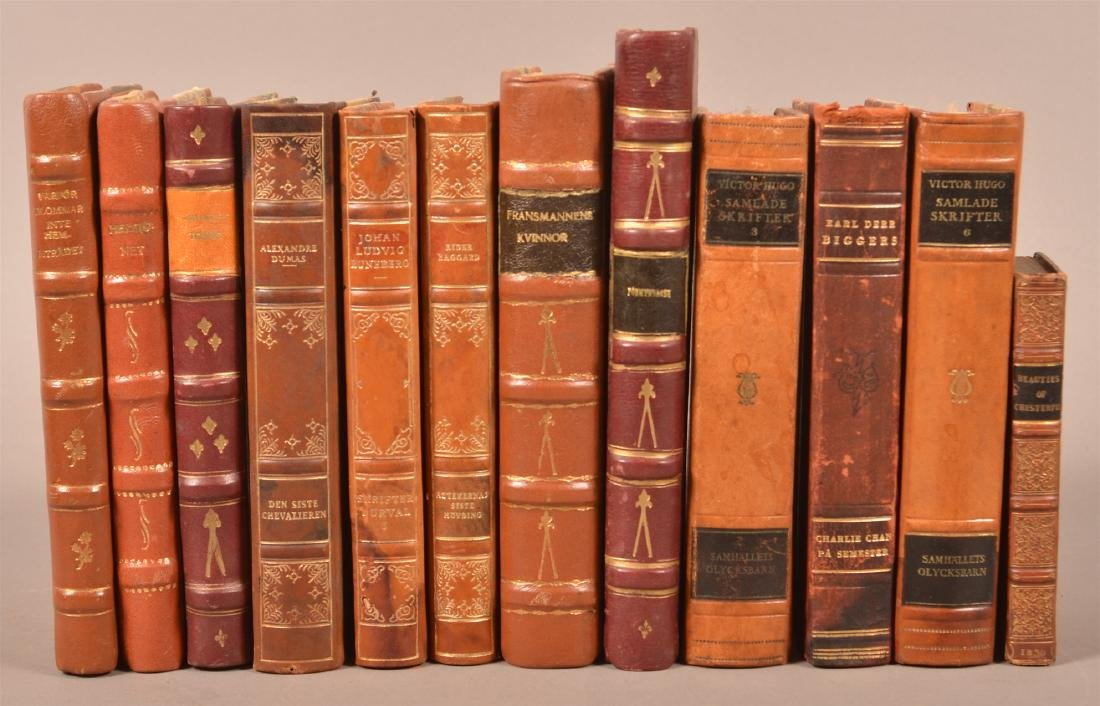 12 Antique/Vintage Leather-bound Books.
