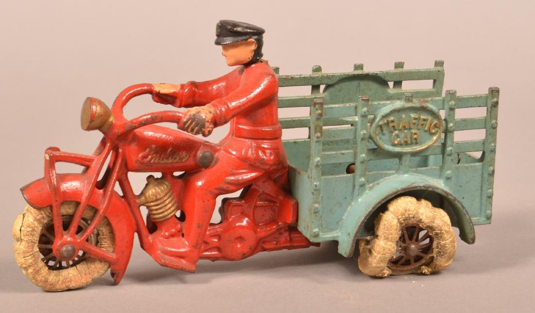 "Hubley Cast Iron ""Traffic Car"" Motorcycle."