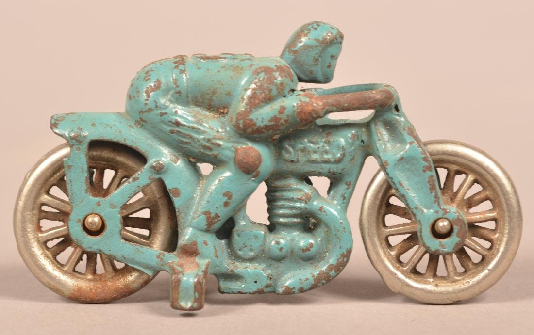 "Hubley Cast Iron ""Speed"" No. 5 Motorcycle Racer. - 2"