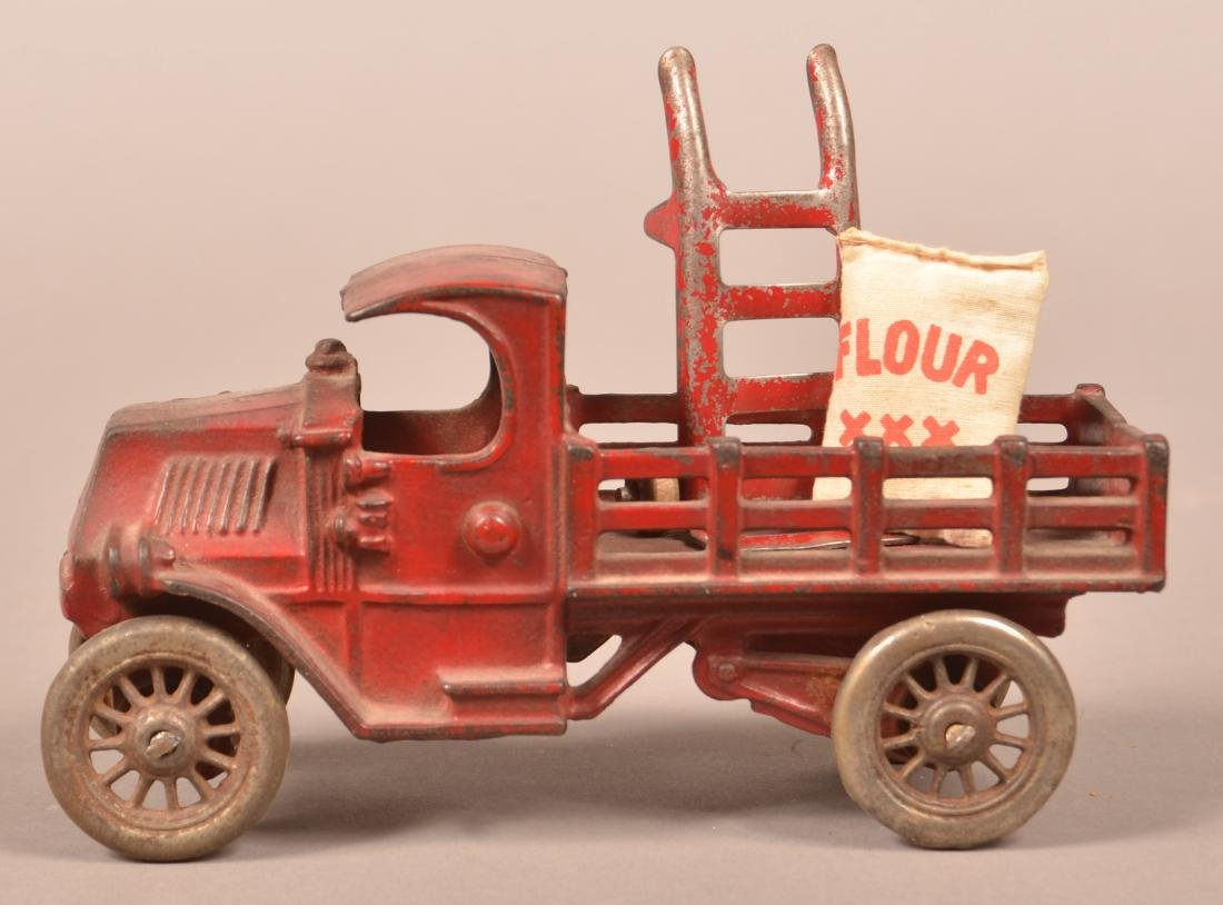 Hubley Cast Iron Mack Stake Body Truck.