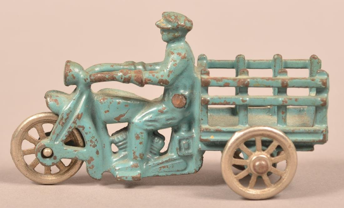 Hubley Cast Iron Motorcycle with Stake Body.
