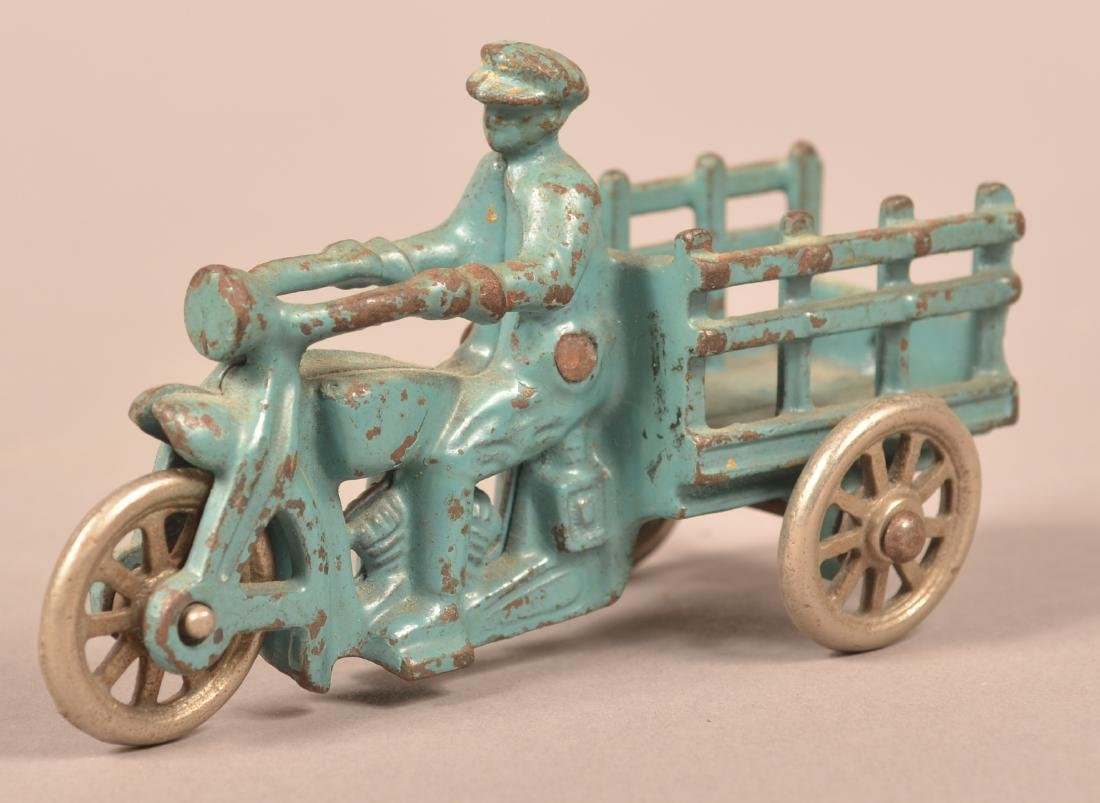 Hubley Cast Iron Motorcycle with Stake Body. - 2
