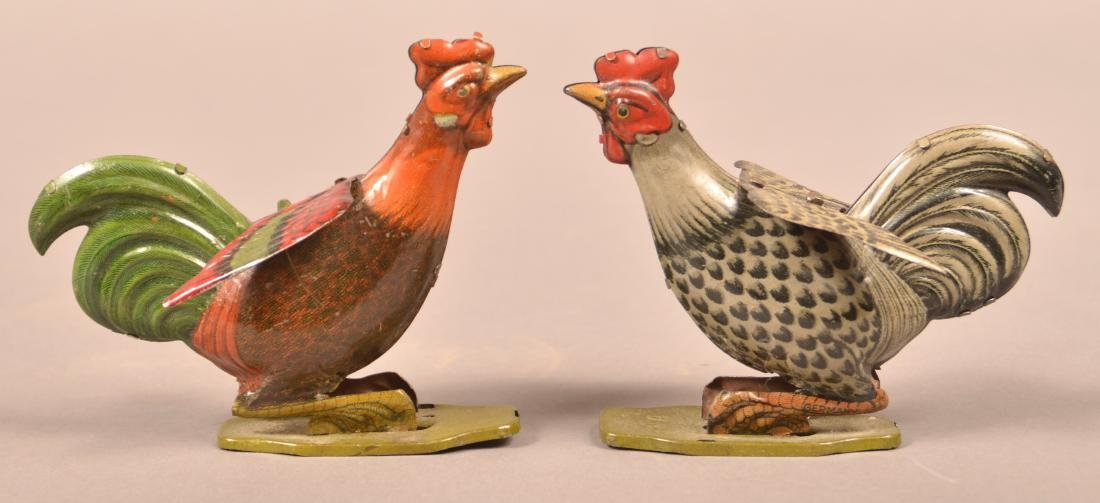 Two Vintage Tin Litho Rooster Figures.