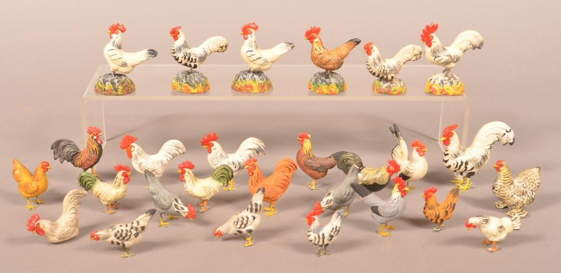 27 German Composition Rooster/Chicken Figures.