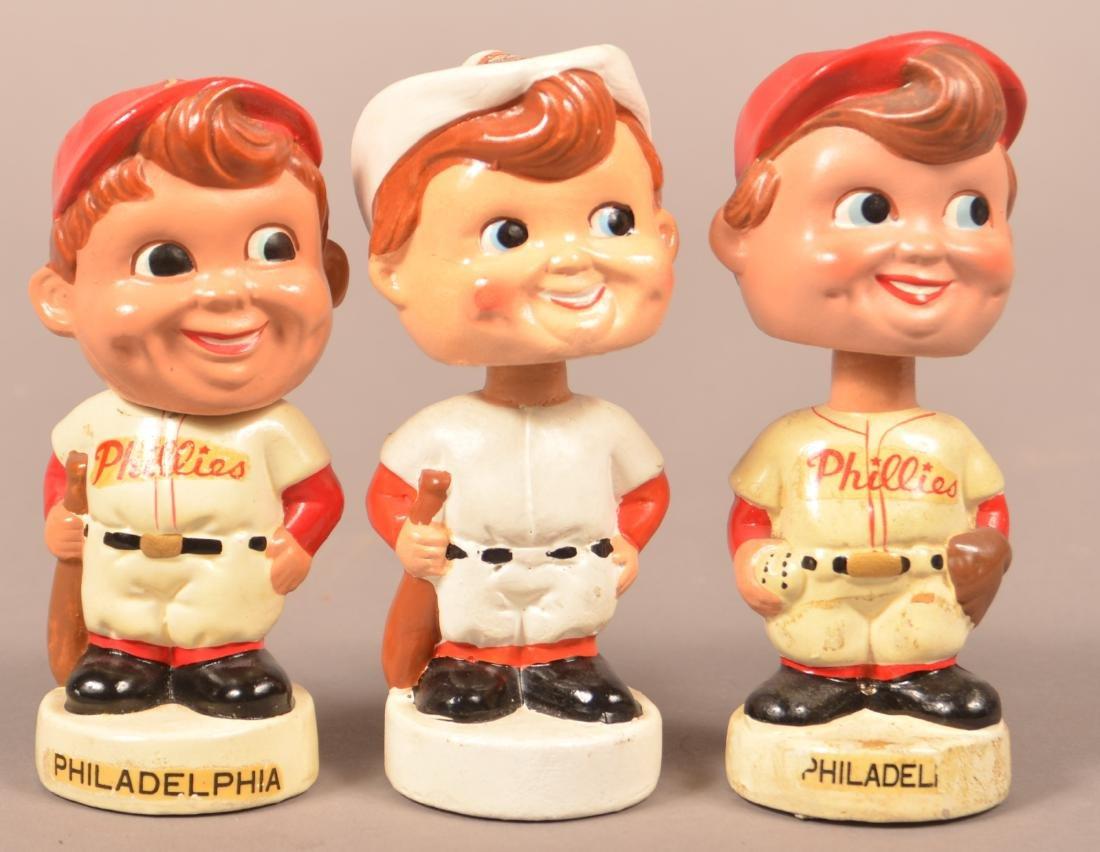 Three Vintage Baseball Bobble Heads.