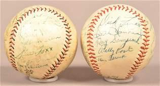 2 Vintage Team Autographed Spalding Baseballs.