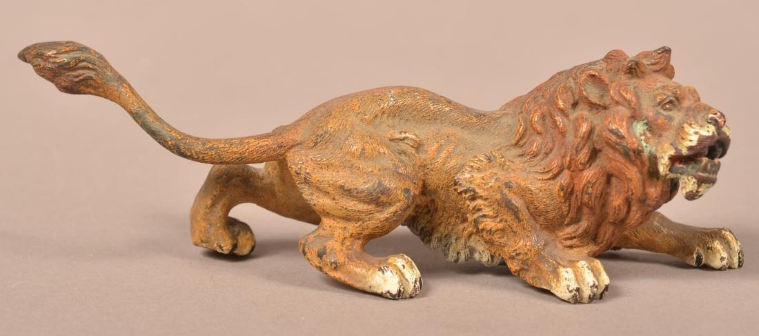 Austrian Cold-Painted Bronze Sculpture of a Lion.