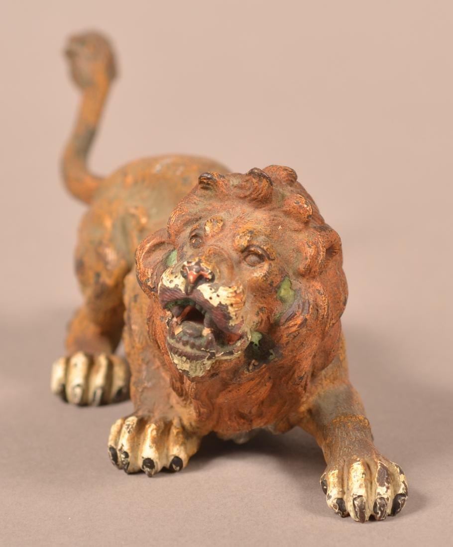 Austrian Cold-Painted Bronze Sculpture of a Lion. - 2