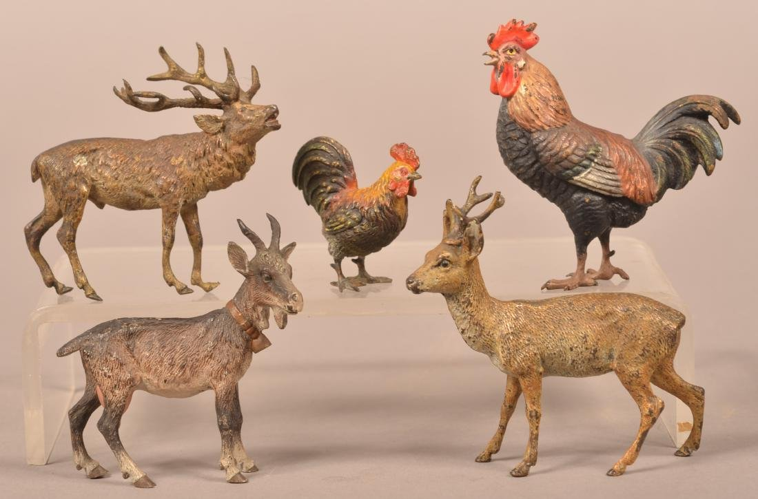 5 Austrian Cold-Painted Bronze Miniature Animals.