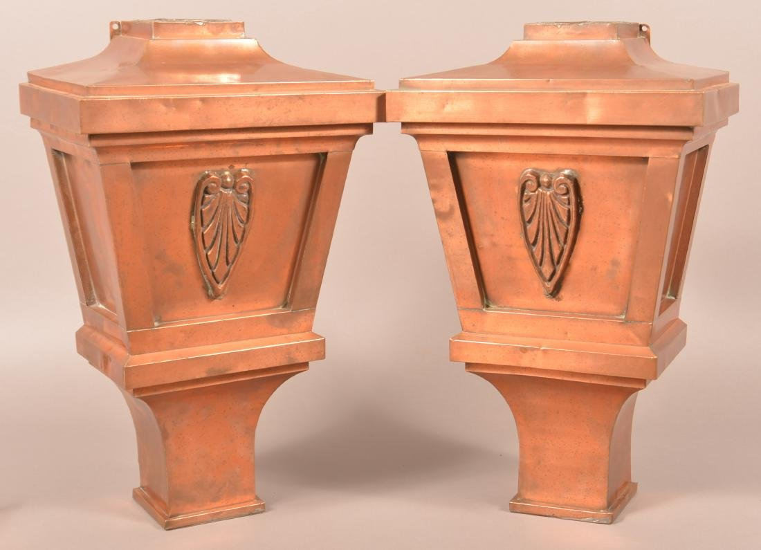 Pair of Copper Arts and Crafts Down Spouts.
