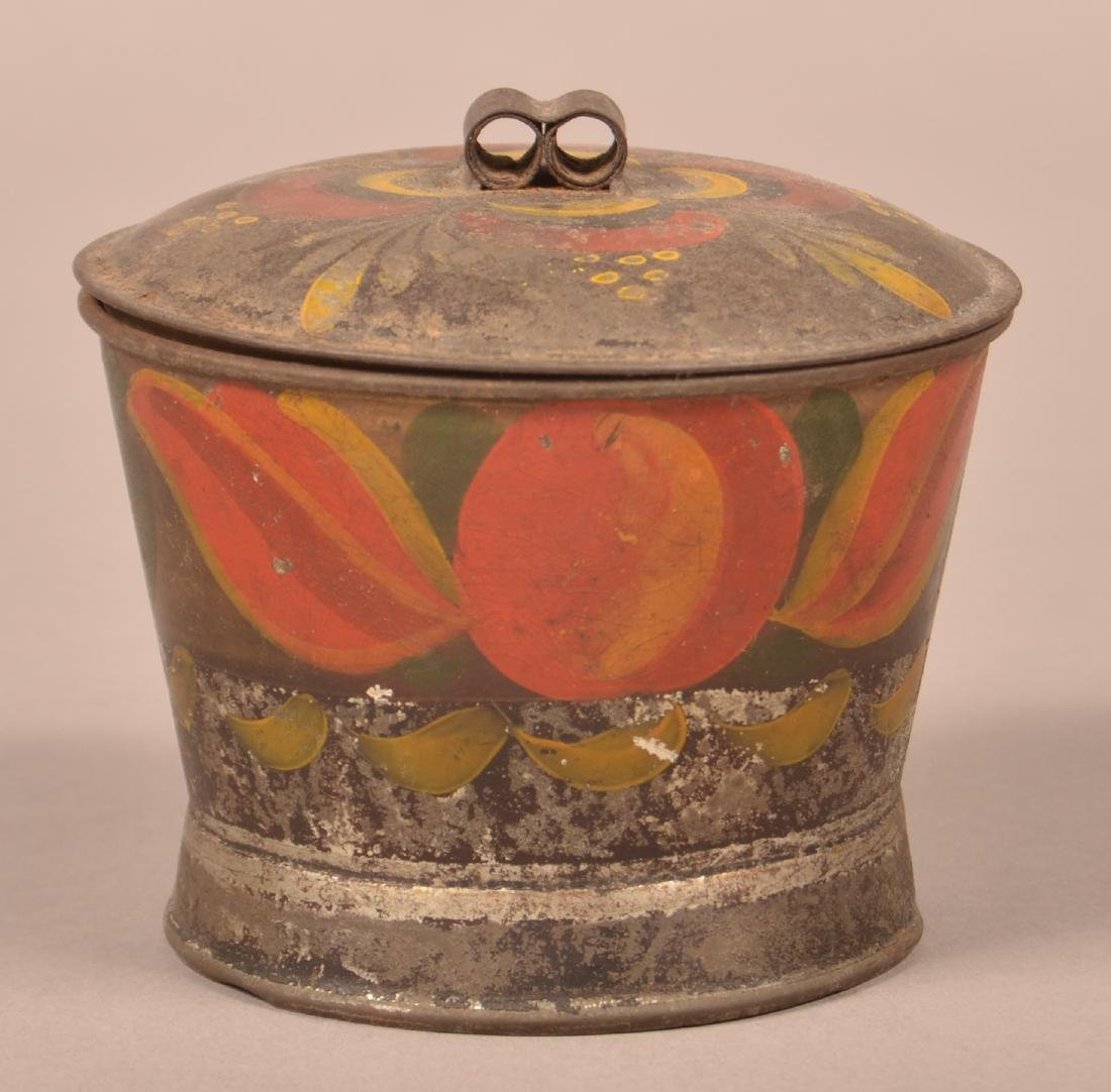 Antique PA Toleware Covered Sugar Bowl.