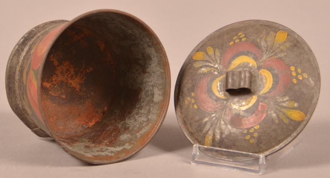 Antique PA Toleware Covered Sugar Bowl. - 3