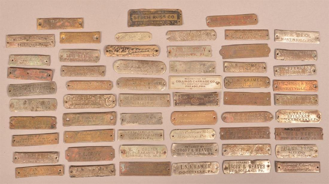 Lot of Antique Metal Manufacturers Tags.