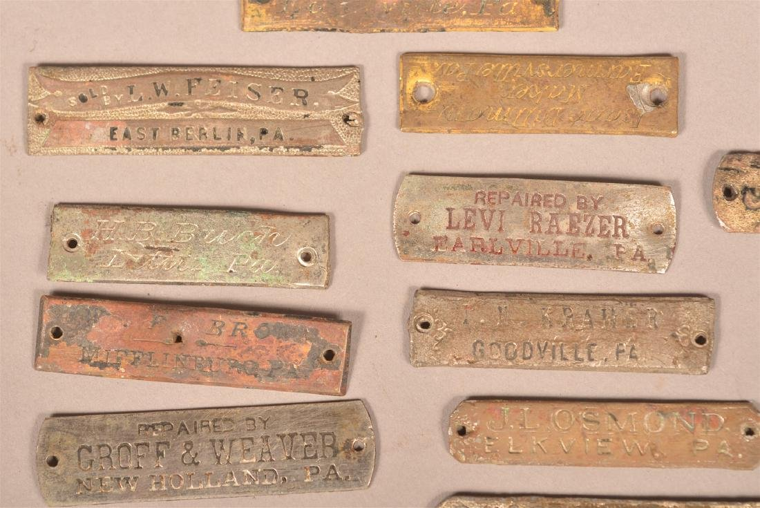 Lot of Antique Metal Manufacturers Tags. - 3