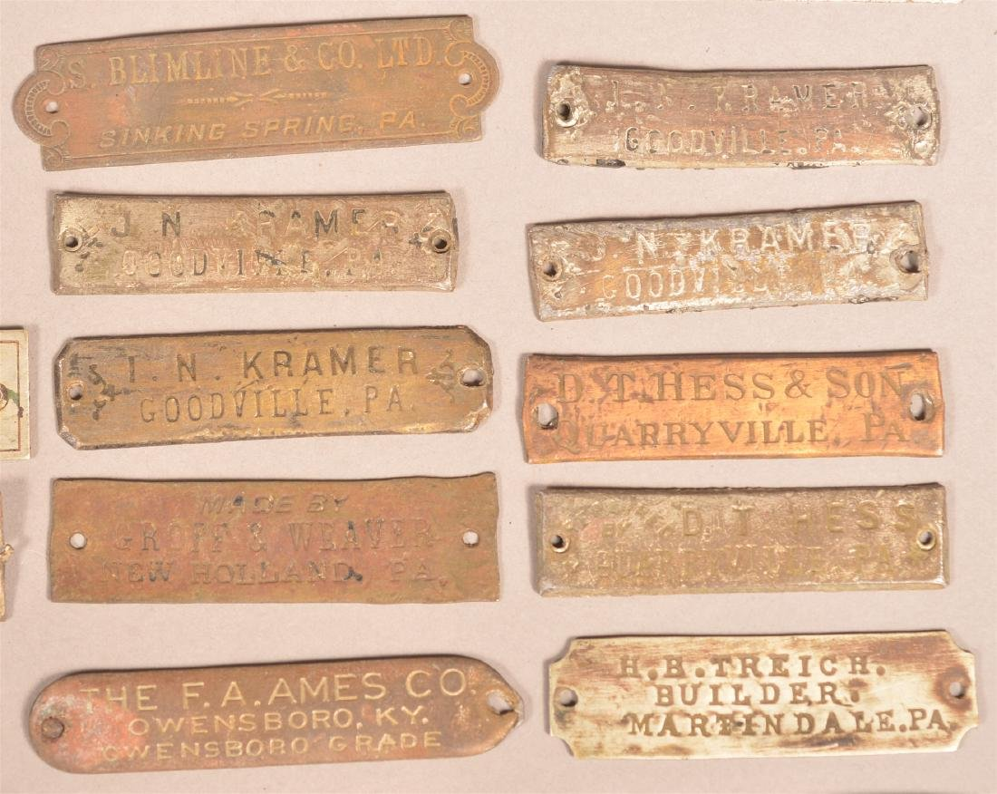 Lot of Antique Metal Manufacturers Tags. - 4