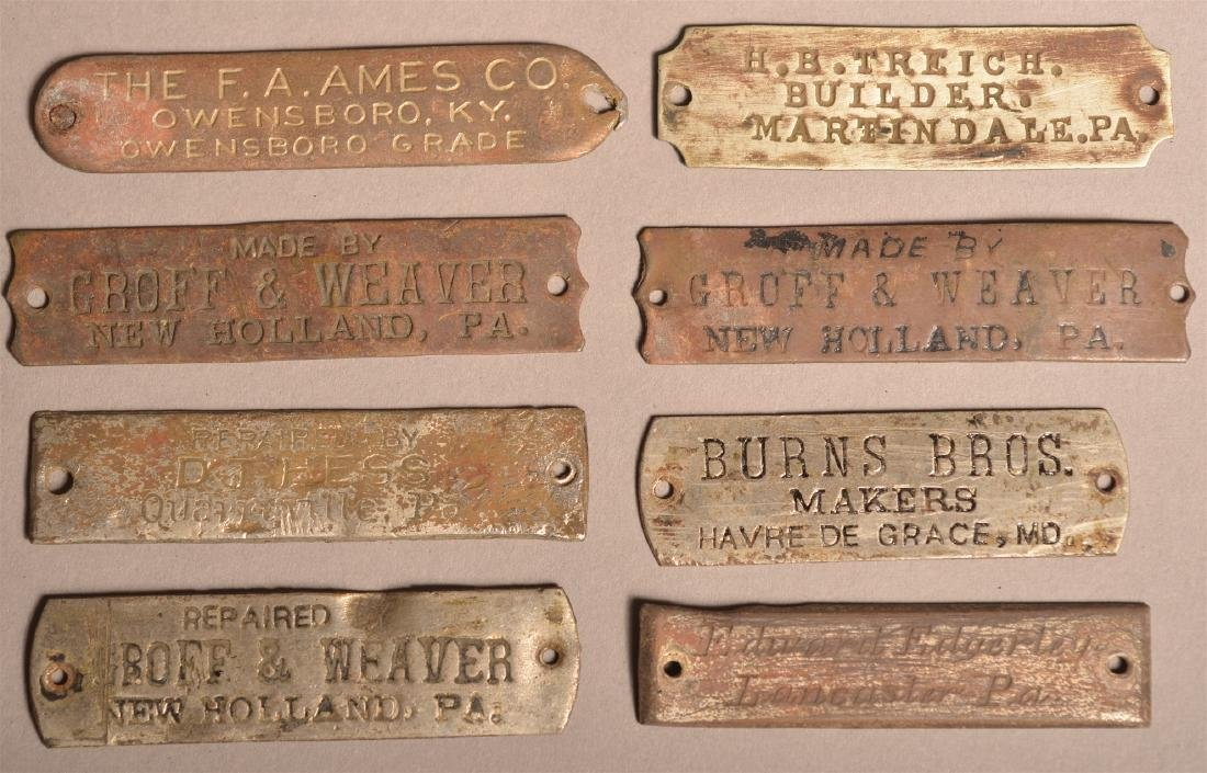 Lot of Antique Metal Manufacturers Tags. - 5
