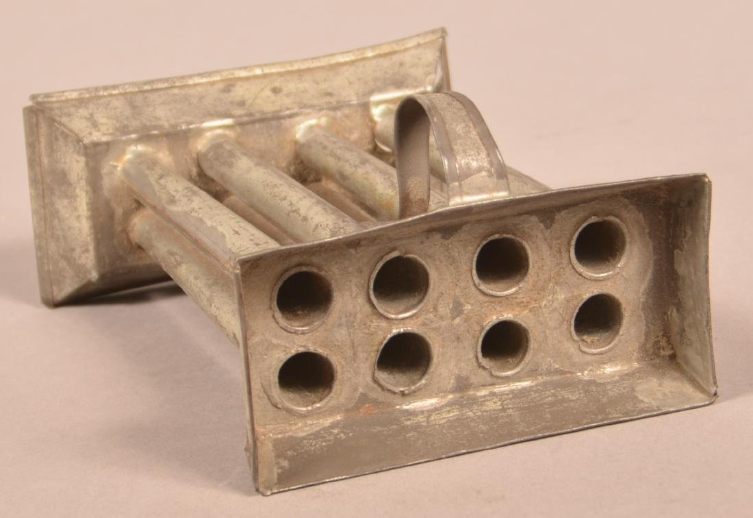 Small 19th Century Tin Eight Tube Candle Mold. - 2