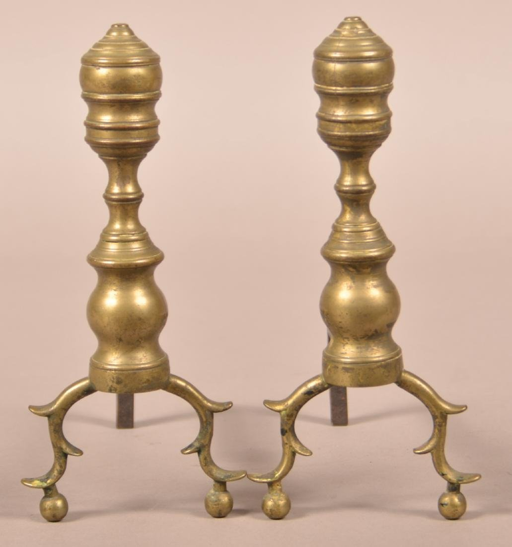 Pair of Federal Miniature Brass Andirons.
