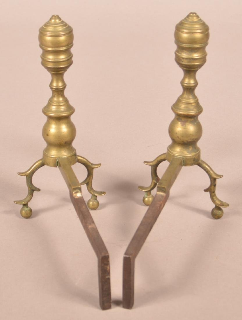 Pair of Federal Miniature Brass Andirons. - 2