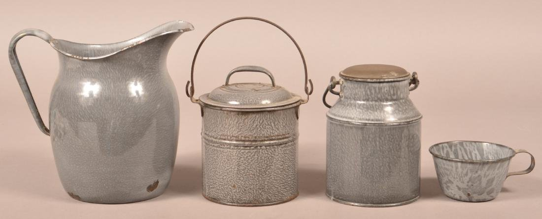 Four Various Pieces of Gray Granite Ware.