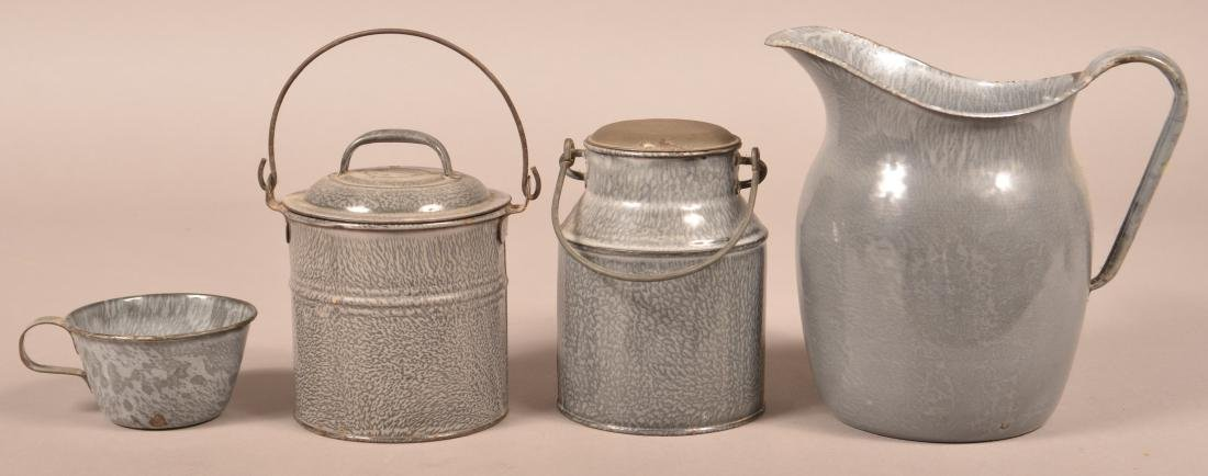 Four Various Pieces of Gray Granite Ware. - 2