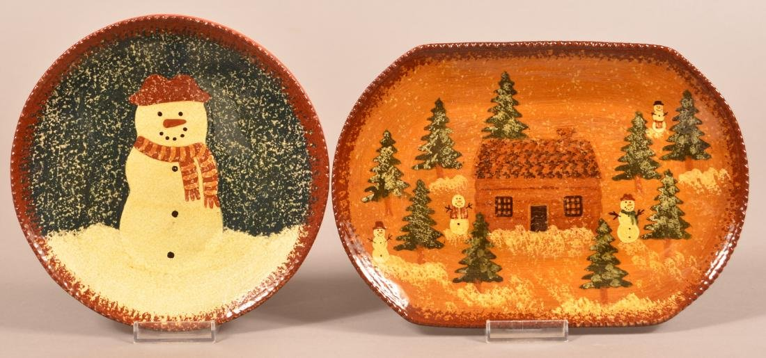 Two Foltz Redware Snowman Decorated Plates.