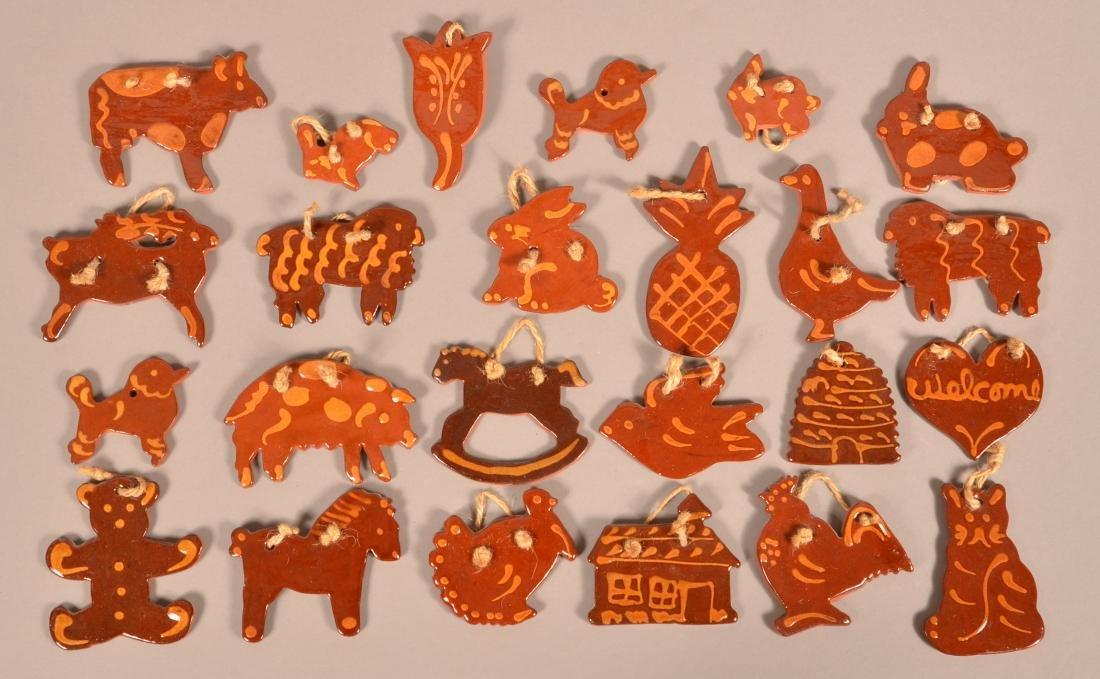 24 Foltz Redware Christmas Tree Ornaments.