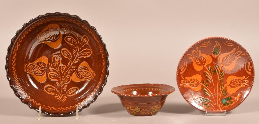 3 Pieces of Floral Slip Decorated Foltz Redware.