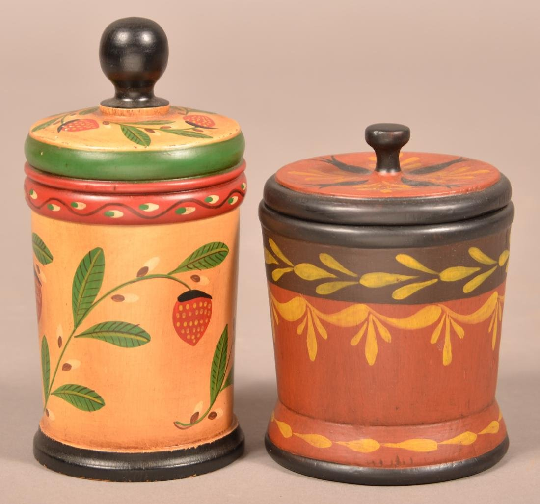 Two John R. Dierwechter Painted Canisters.