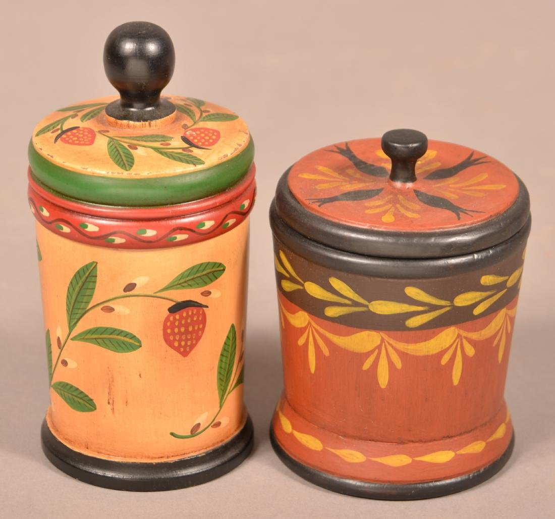 Two John R. Dierwechter Painted Canisters. - 2