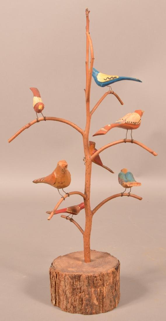 1979 Folk Art Bird Tree by D. & B. Strawser.