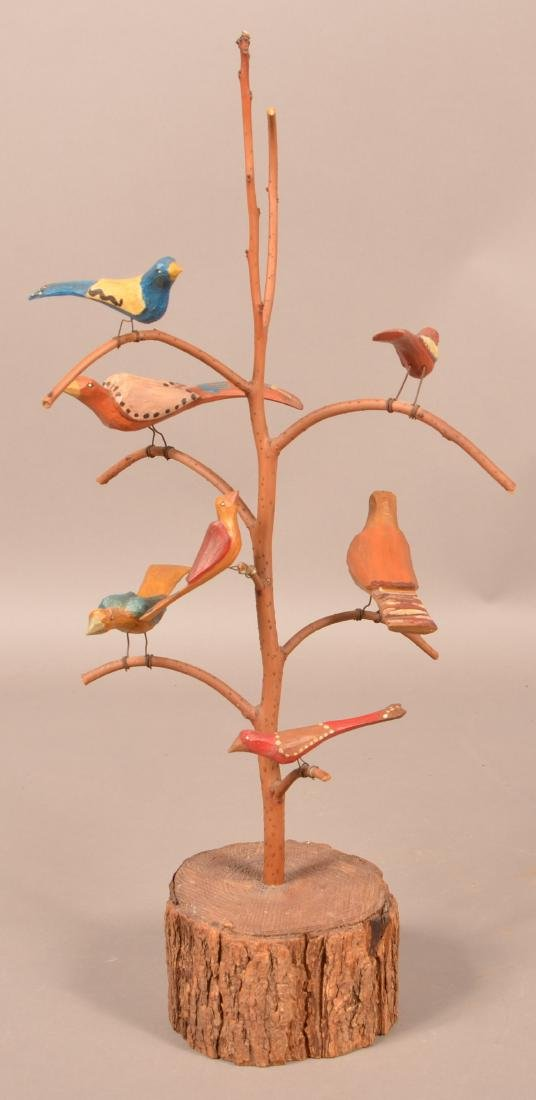 1979 Folk Art Bird Tree by D. & B. Strawser. - 2