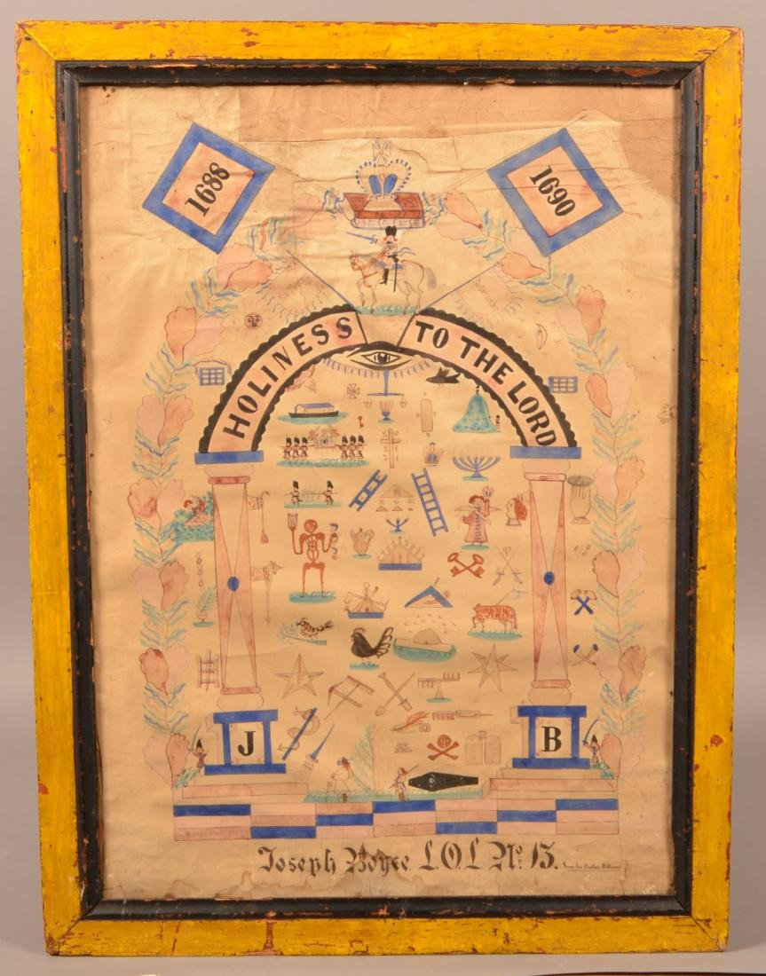 Antique Masonic Watercolor Drawing on Paper.