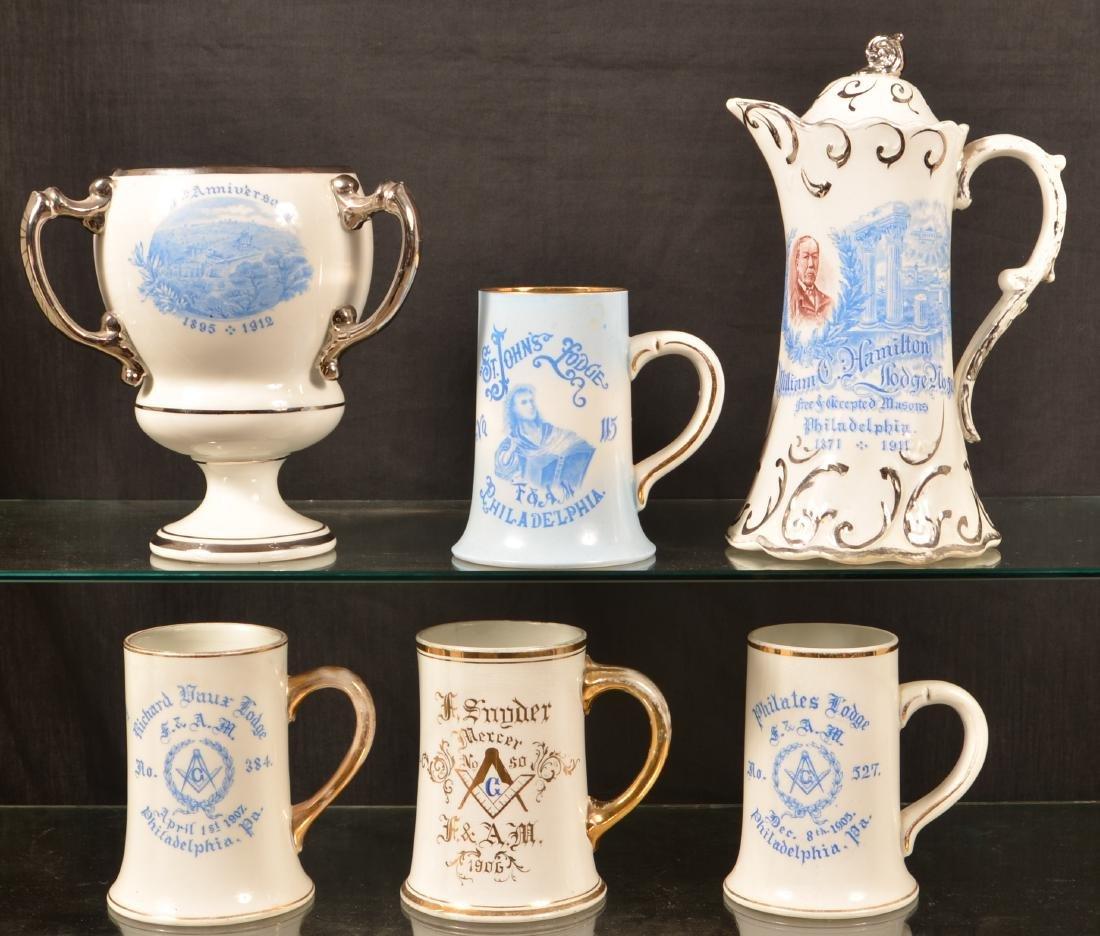 Six Pieces of Antique/Vintage Masonic China.
